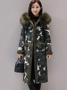 Ericdress Fur Mid-Length Camouflage Hooded Coat