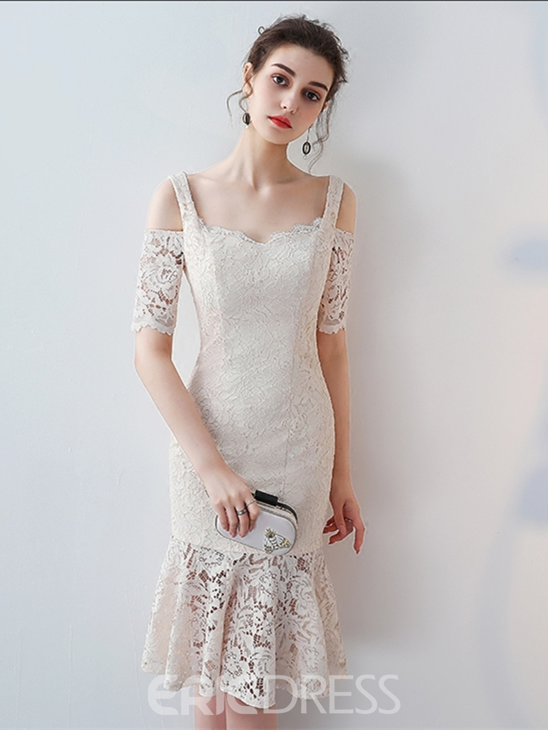 93e0f2c38 Ericdress Sheath Short Sleeve Lace Knee Length Cocktail Dress