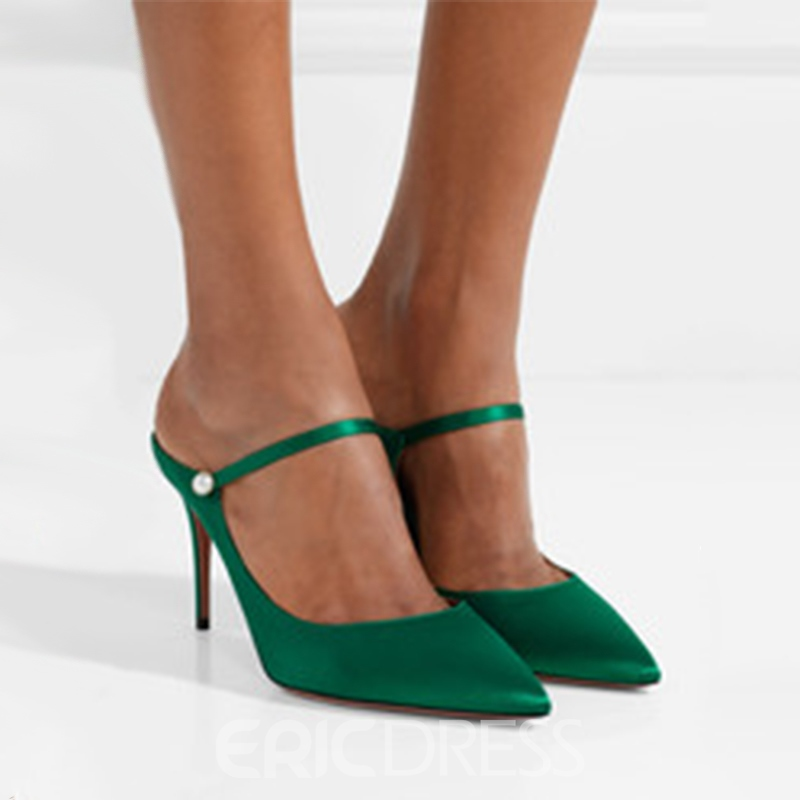 Ericdress Plain Slip-On Stiletto Heel Mules Shoes with Beads