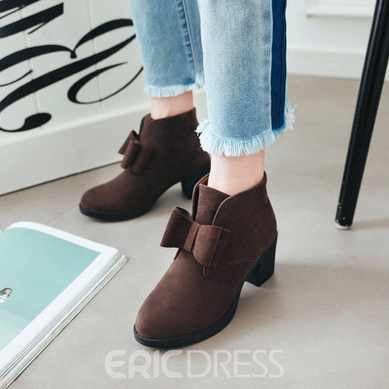 Ericdress Bowknot Plain Slip-On Ankle Boots