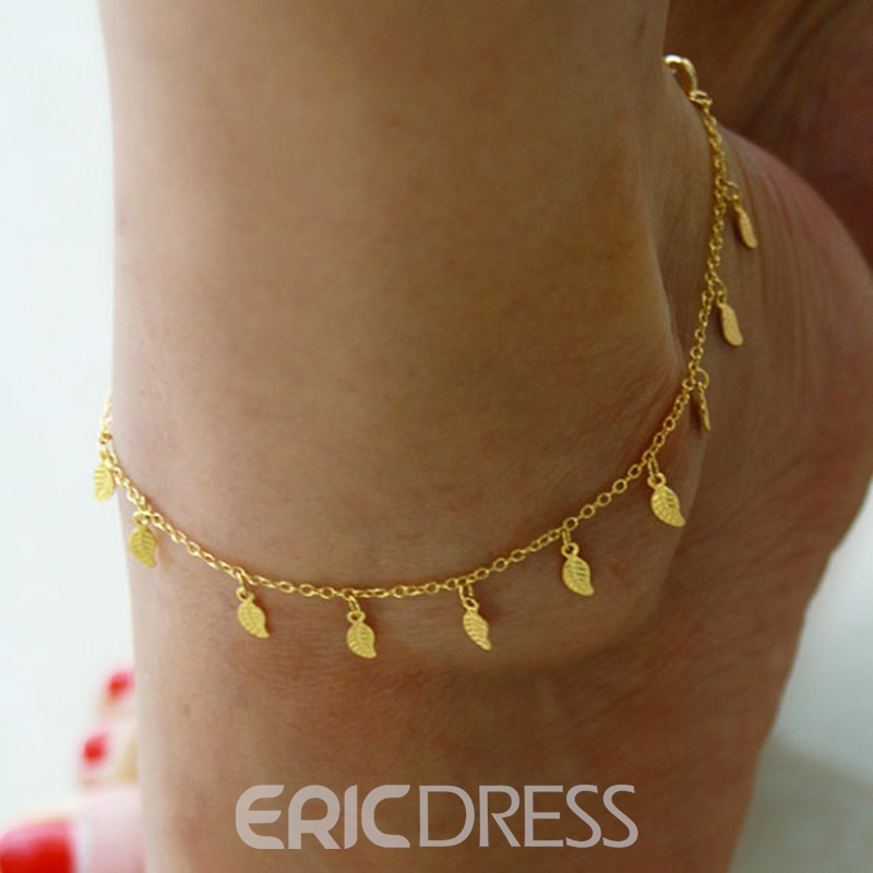 Ericdress Sparkling Leaf Pendant Alloy Anklet for Women