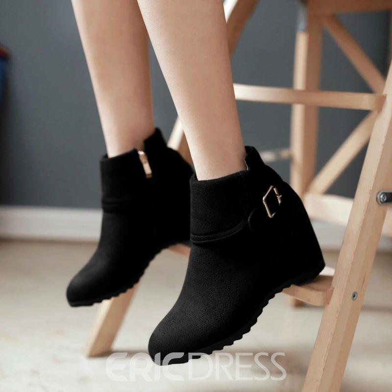 Ericdress Buckle Round Toe Plain Ankle Boots