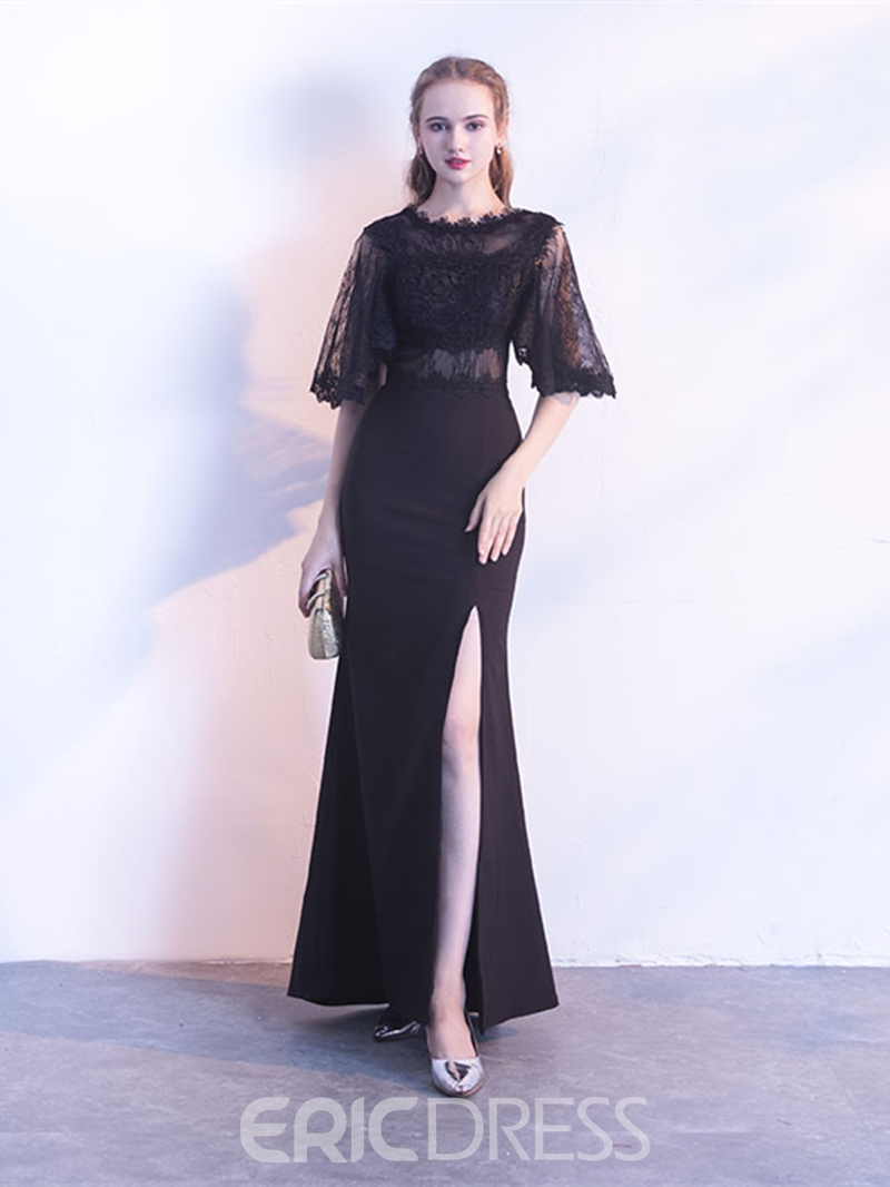 Ericdress Sheath Half Sleeve Applique Long Evening Dress With Sweep Train