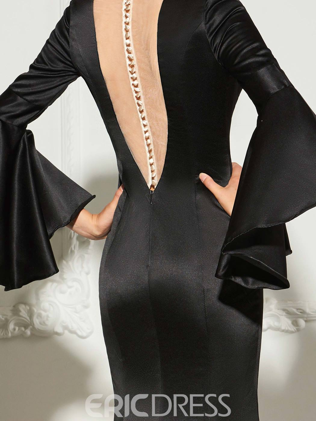 Ericdress Long Sleeve V Neck Mermaid Evening Dress With Side Slit
