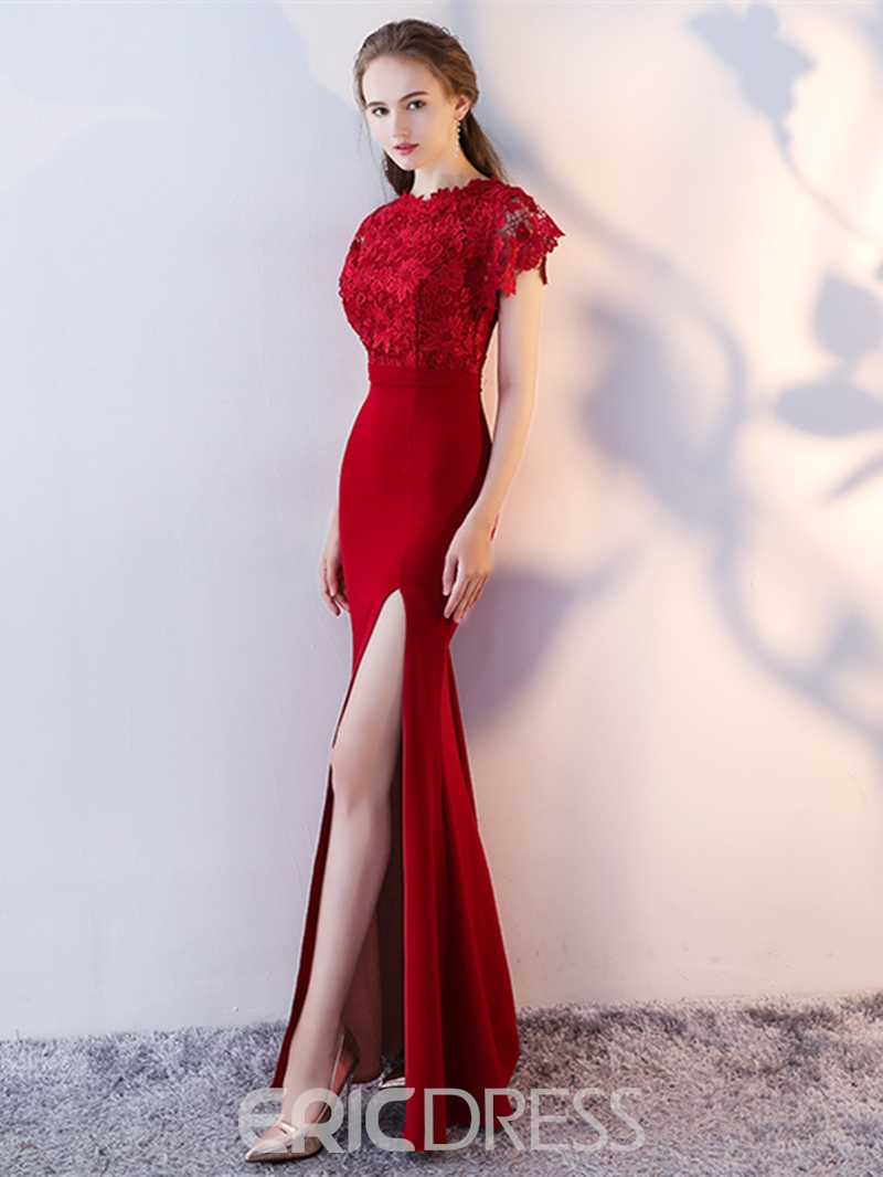 Ericdress Sheath Lace Short Sleeve Side Slit Floor Length Evening Dress