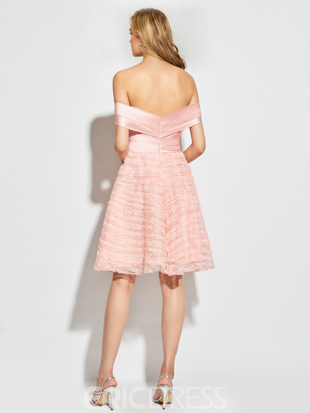 Ericdress Short Sleeve Off The Shoulder Lace Cocktail Dress