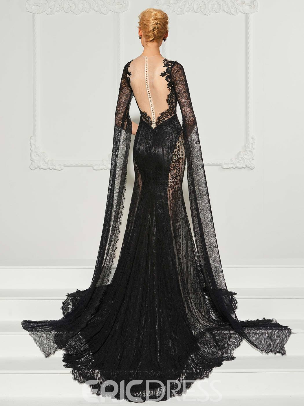 Ericdress Long Sleeve Mermaid Lace Evening Dress With Sweep Train