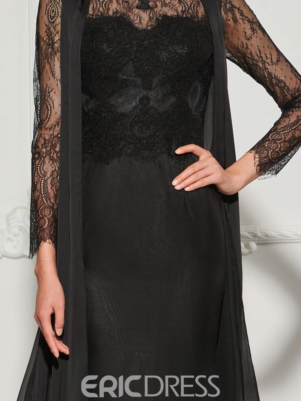 Ericdress Scalloped-Edge Neck Long Sleeve Lace Evening Dress With Watteau Train