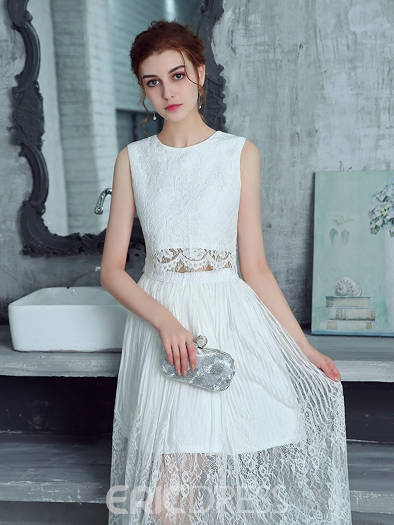 Ericdress A Line Two Pieces Tea Length Lace Prom Dress