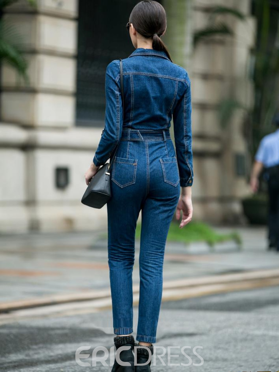 Ericdress Slim High-Waist Denim Zipper Women's Jumpsuit