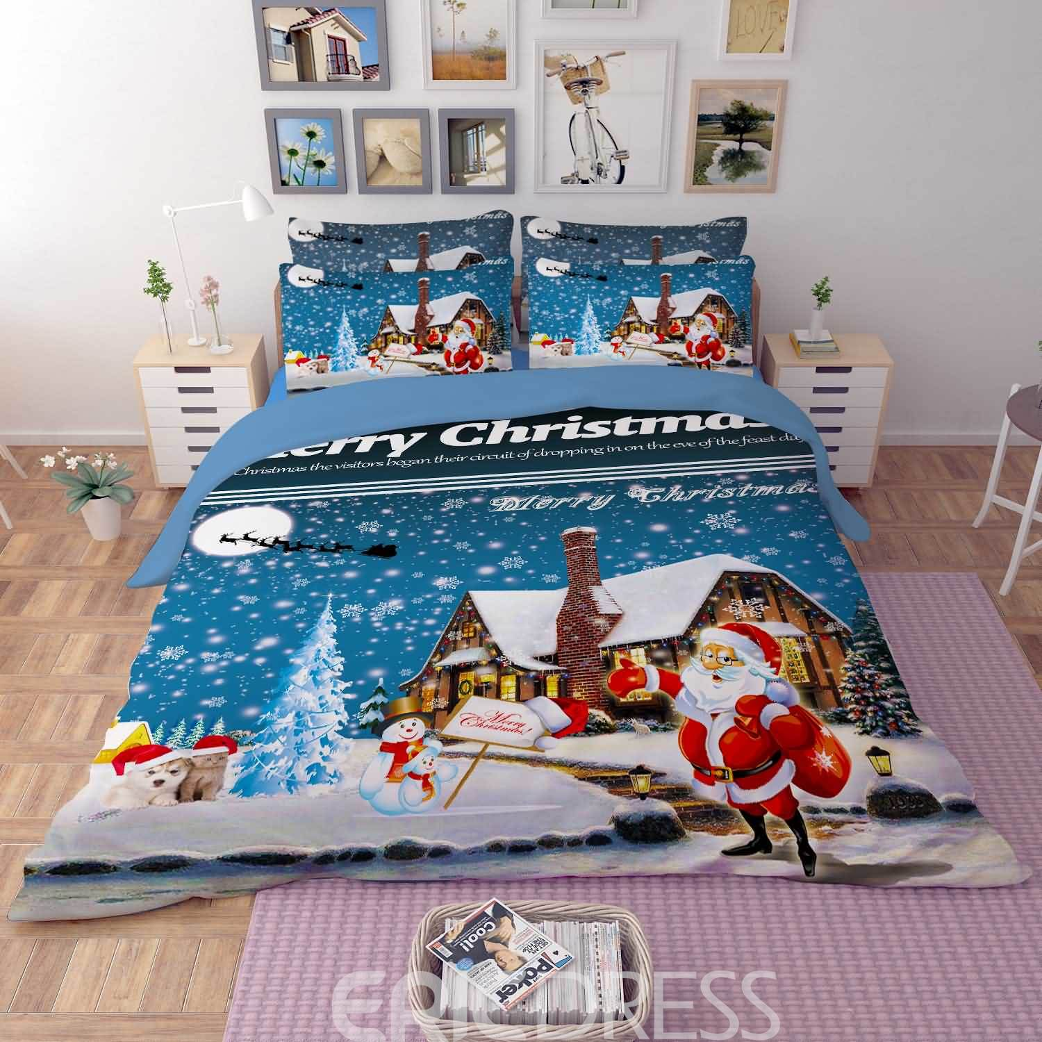 Vivilinen 3D Jolly Santa and Merry Christmas Printed Polyester 4-Piece Bedding Sets/Duvet Covers
