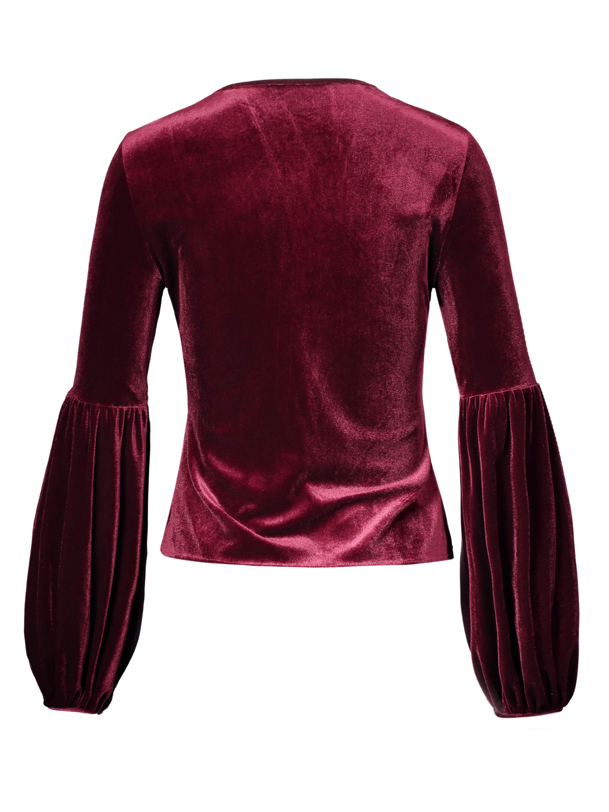 Ericdress Slim Plian Puff Sleeve Velvet Blouse