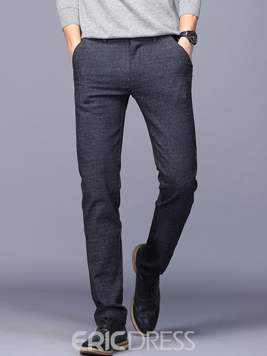 Ericdress Plain Cotton Mid-Waist Casual Men's Pants