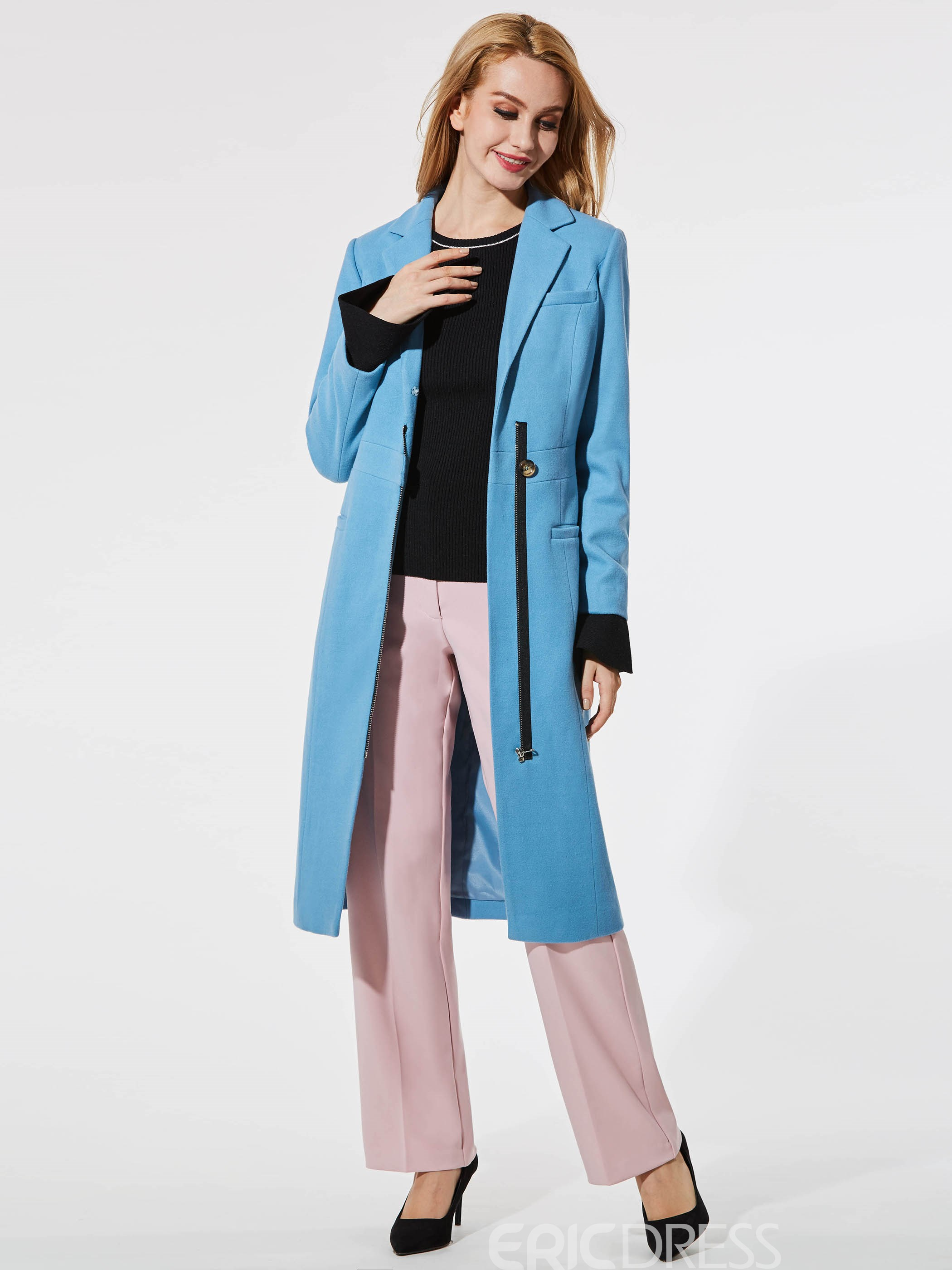 Ericdress Slim Plain Pocket Zipper Coat