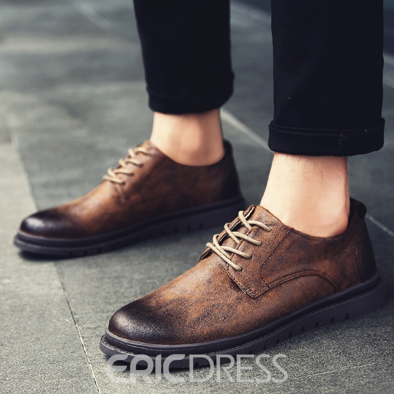 Ericdress PU Low-Cut Lace-Up Men's Oxfords