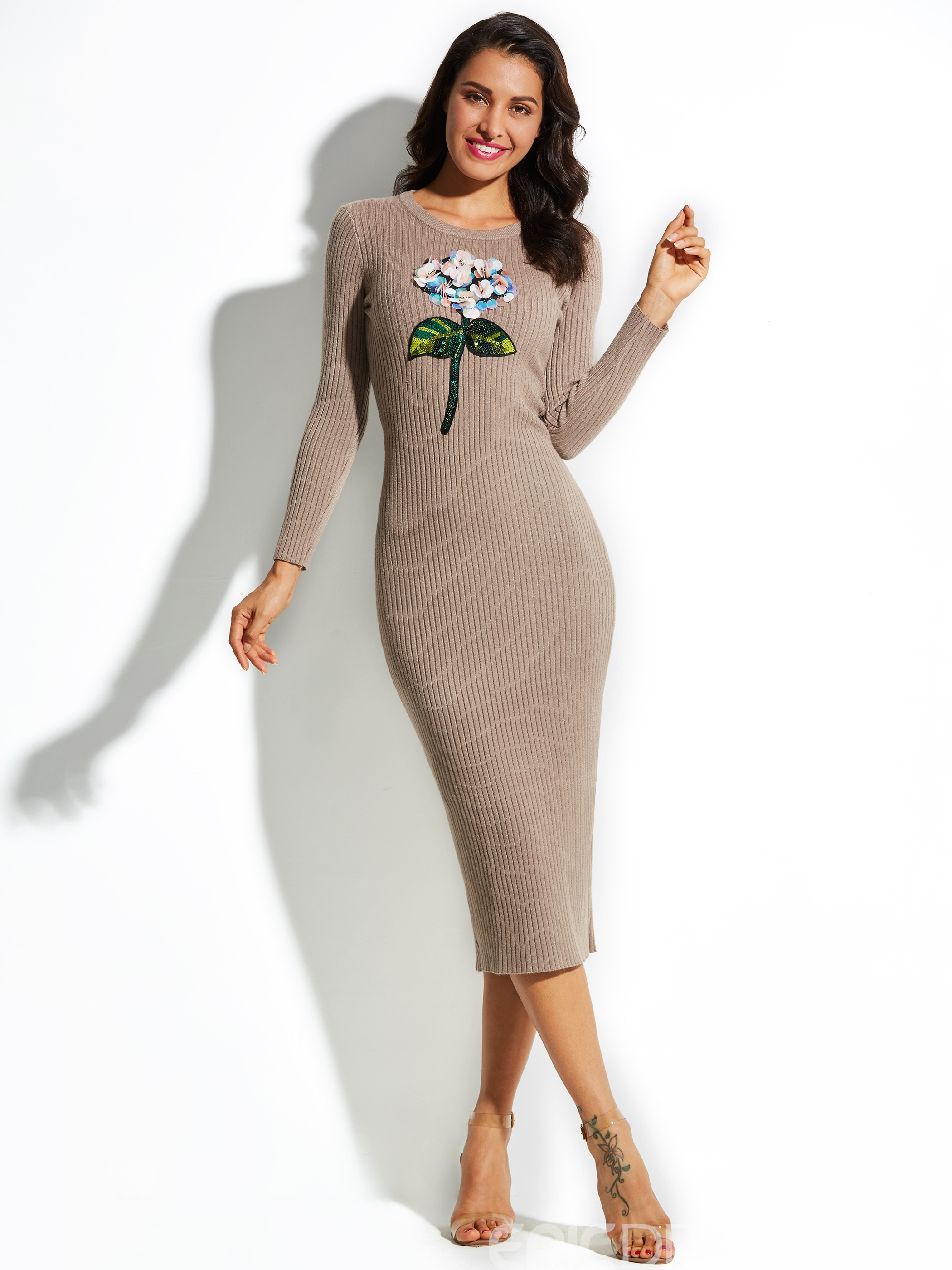 Ericdress Round Neck Mid-Calf Sequins Sweater Dress