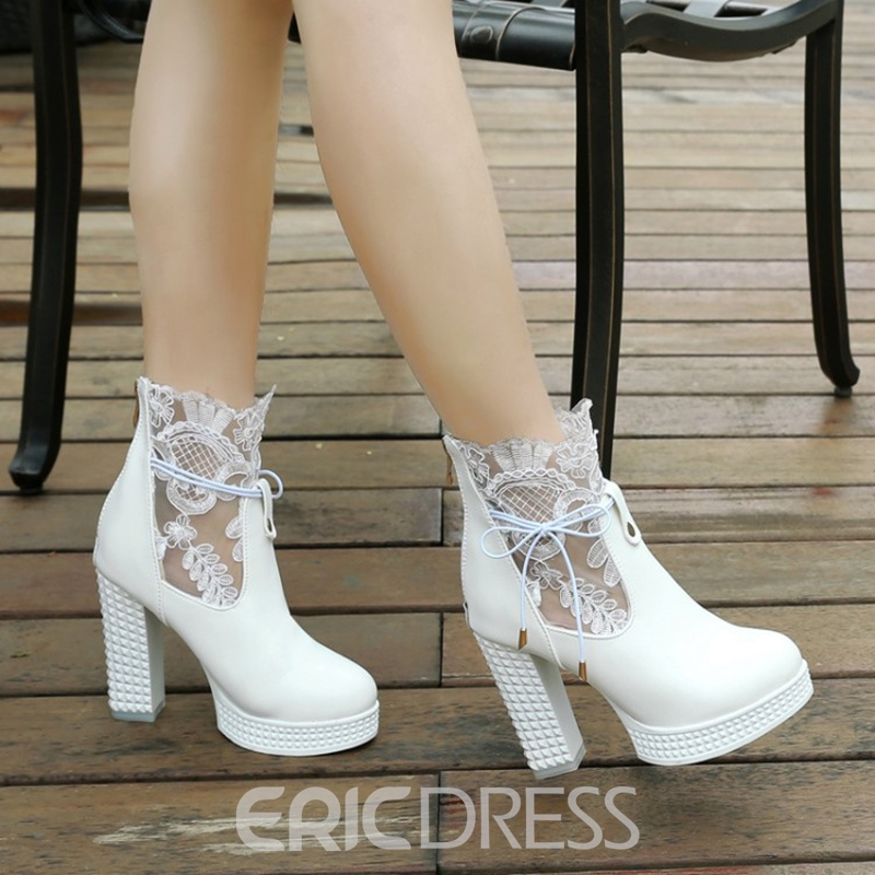 Ericdress Lace Platform Lace-Up High Heel Boots