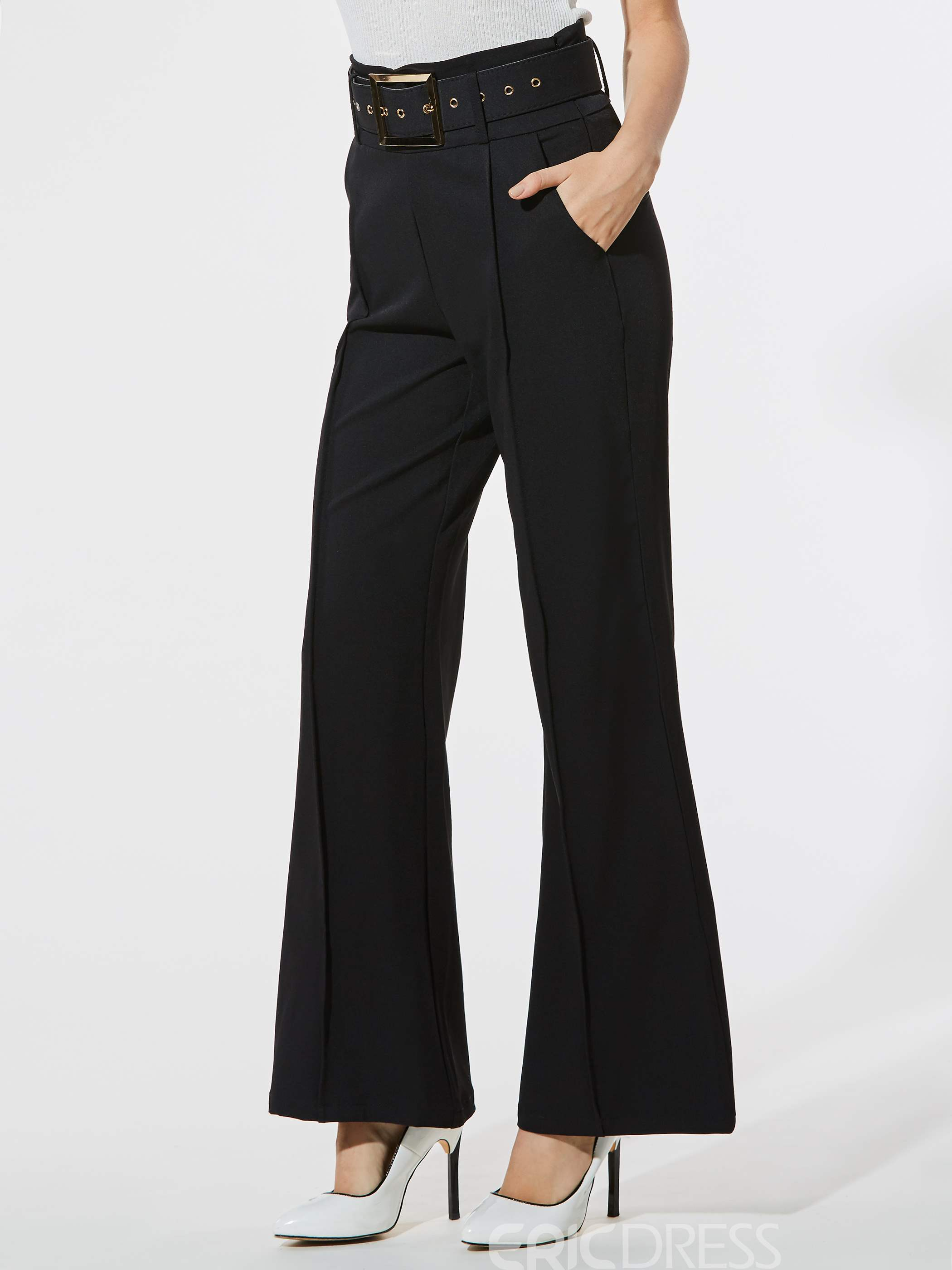Ericdress Slim Wide Leg High-Waist Women's Casual Pants