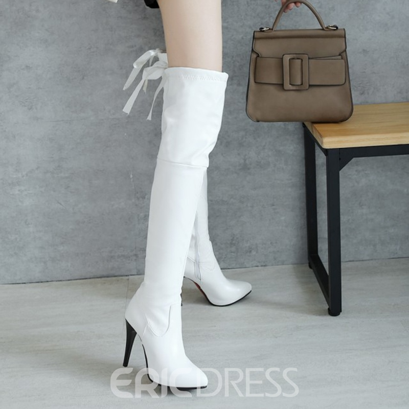 Ericdress Fashion Plain Lace-Up Thigh High Boots