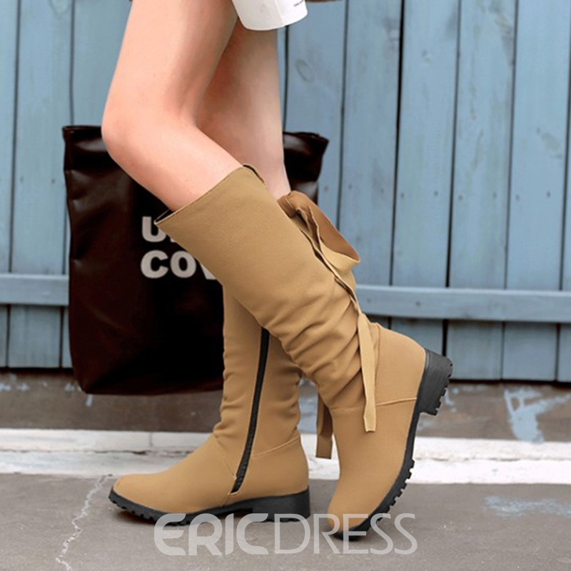 Ericdress Fashion Lace-Up Plain Knee High Boots
