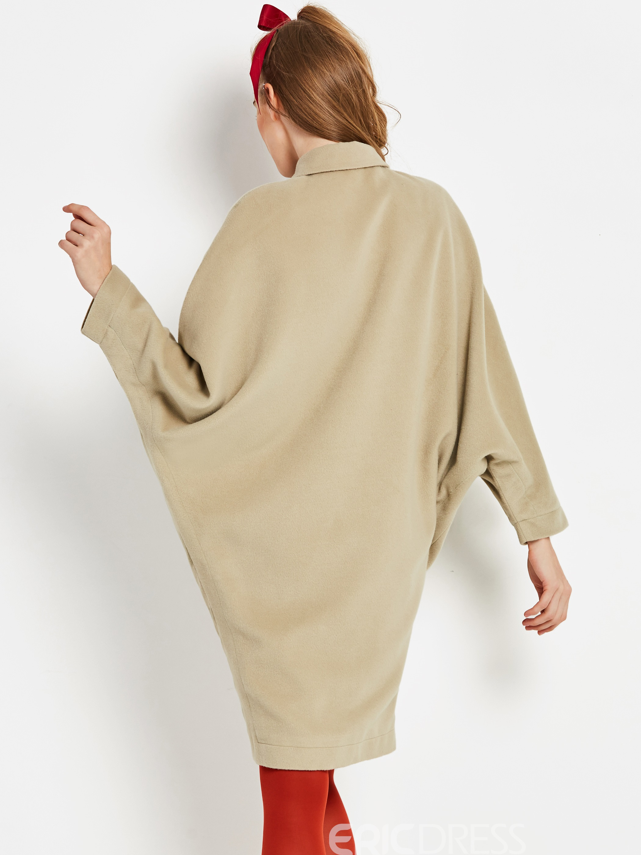 Ericdress Loose Single-Breasted Mid-Length Coat