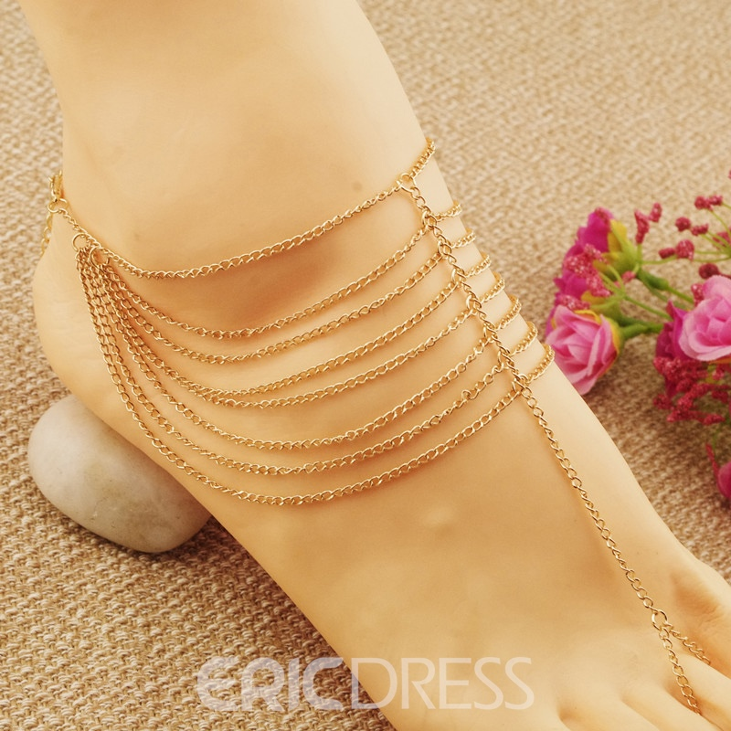 Ericdress Multilayer Golden Chain Fashion Anklet For Women