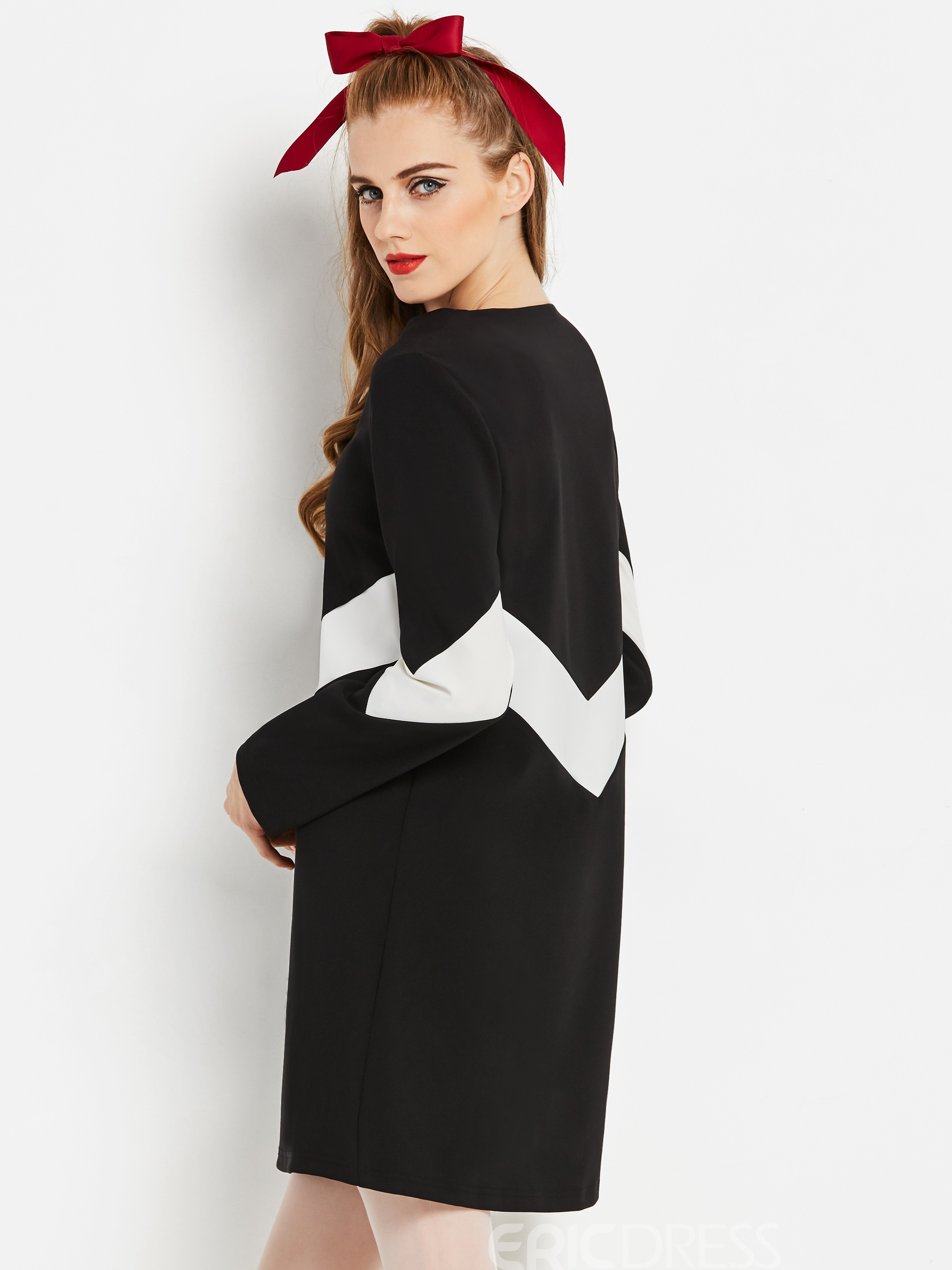 Ericdress Long Sleeve Knee-Length Color Block A Line Casual Dress