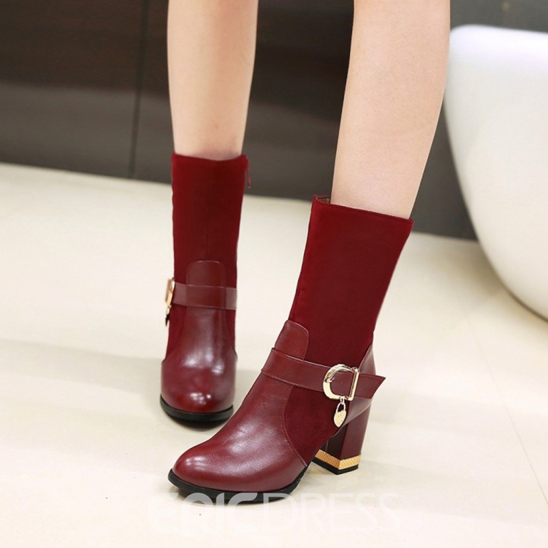 Ericdress Buckle Plain Patchwork Ankle Boots