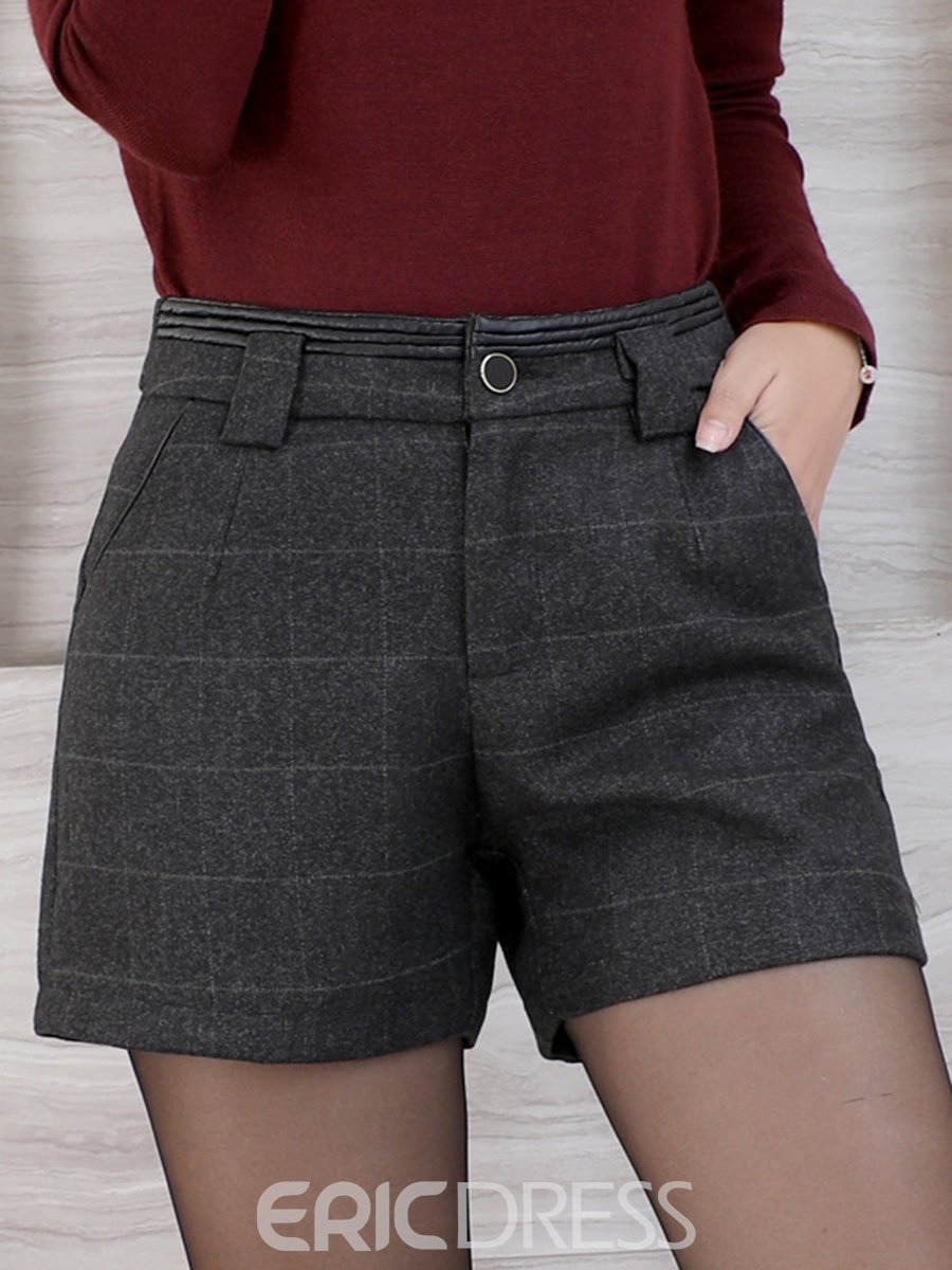 Ericdress Mid-Waist Plaid Button Pocket Shorts Pants