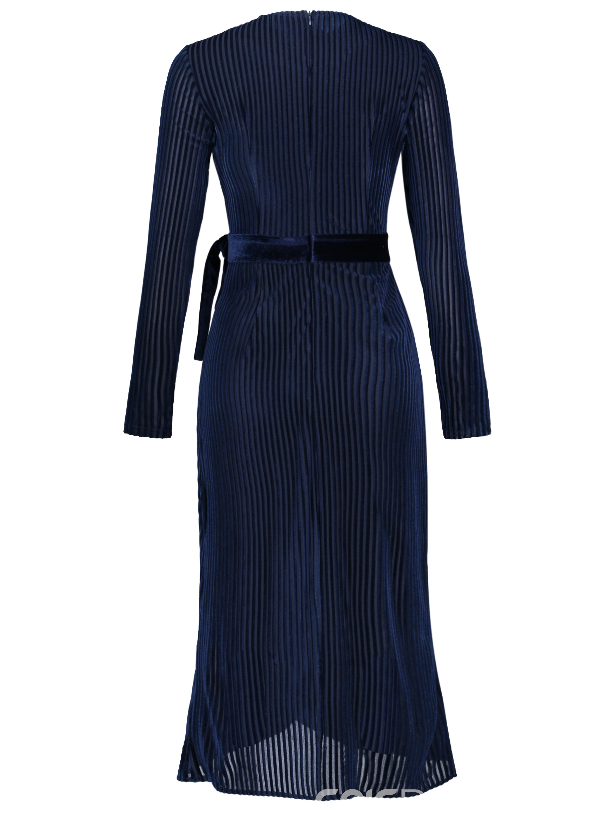 Ericdress Lace-Up V-Neck Ankle-Length Stripe Wear to Work/Workwear Dress