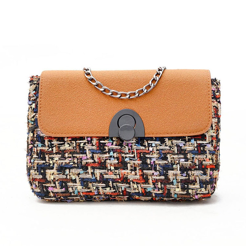 Ericdress Stylish Color Block Chain Woolen Crossbody Bag