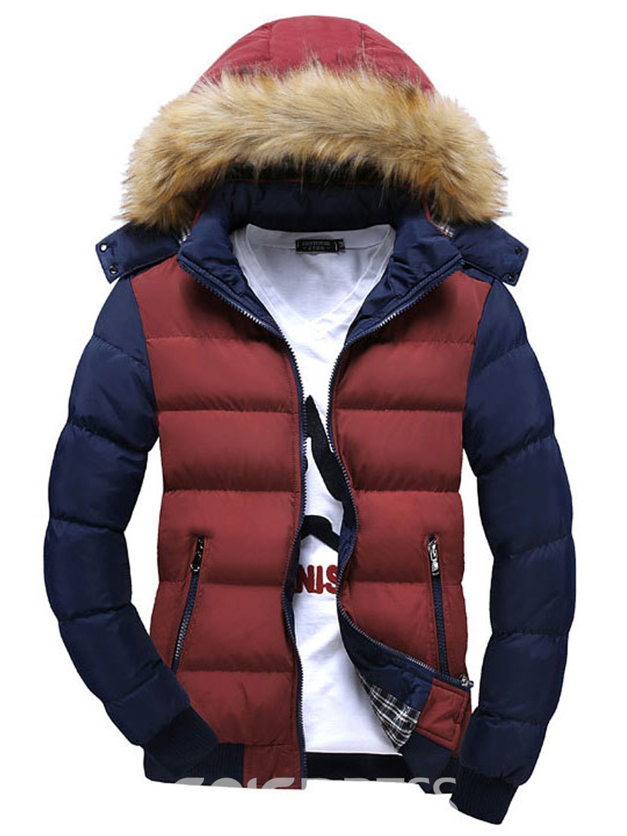 Ericdress Color Block Faux Fur Collar Thicken Men's Cotton Coat
