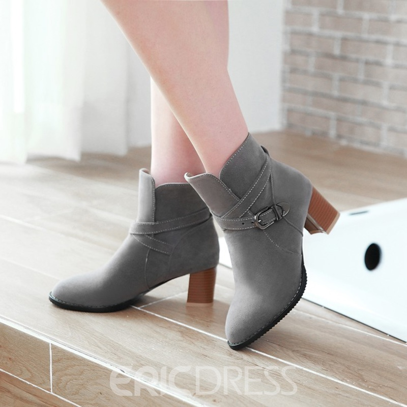 Ericdress Buckle Plain Women's Chunky Heel Ankle Boots