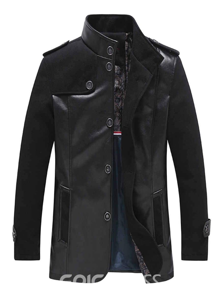 Ericdress Solid Color PU Leather Mid-Length Vogue Slim Men's Jacket