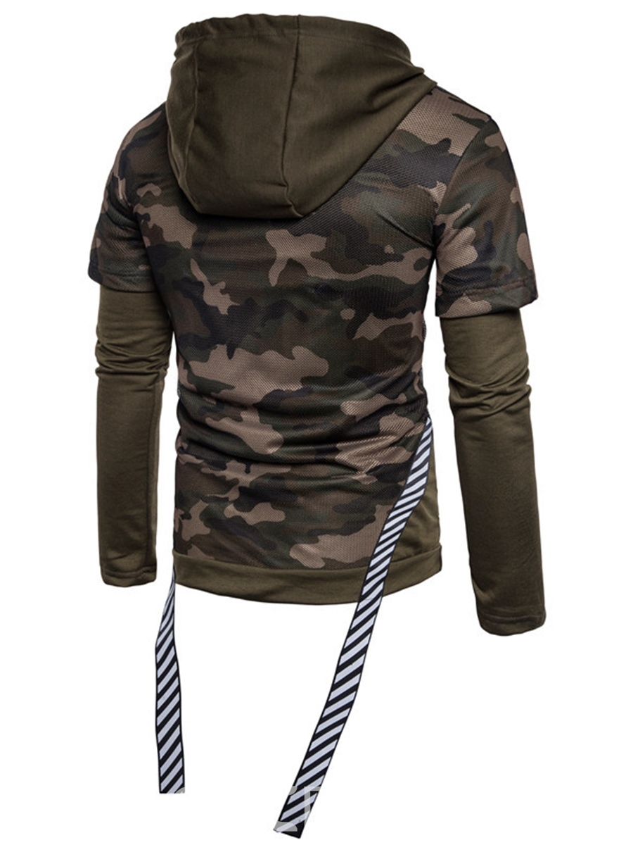 Ericdress Patchwork Camouflage Hooded Unique Slim Men's Hoodie