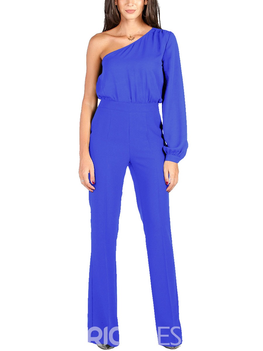 Ericdress Asymmetric Plain Jumpsuits Pants