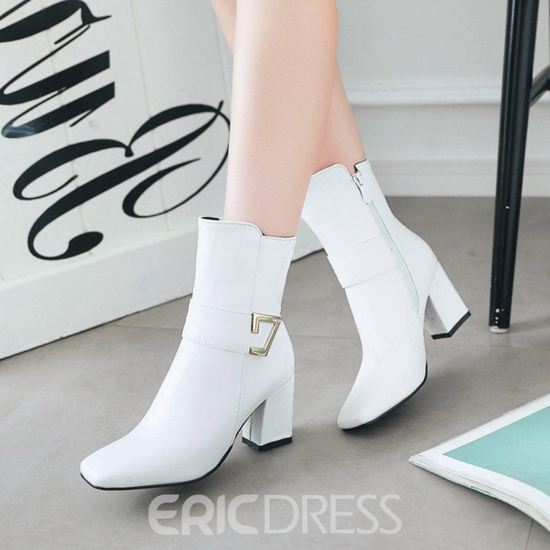 Ericdress Square Toe Plain High Heel Boots