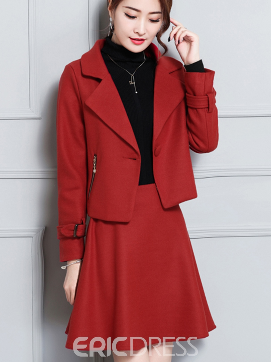 Ericdress Thick Jacket and A-Line Skirt Women's Skirt Suit