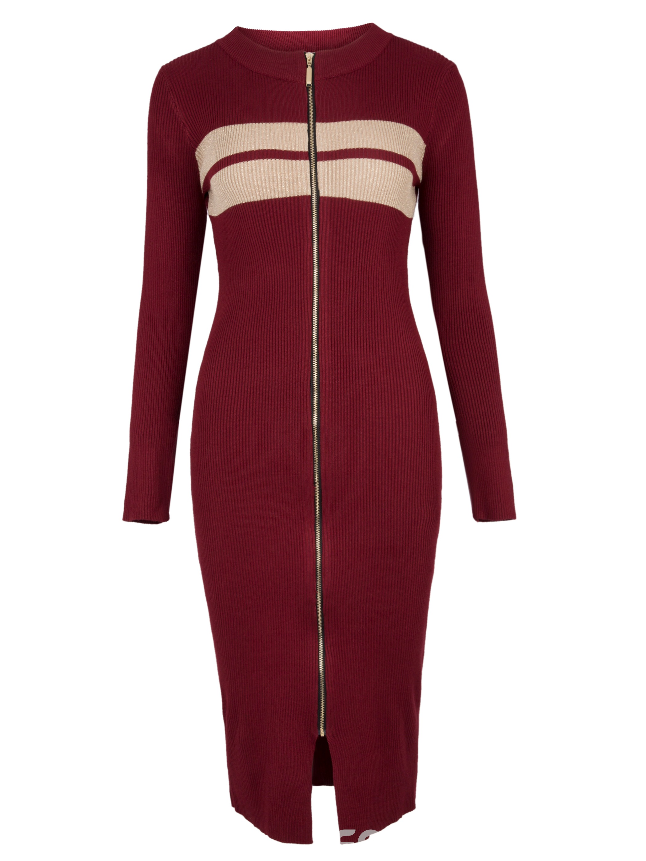 Ericdress Color Block Stripe Zipper Bodycon Dress