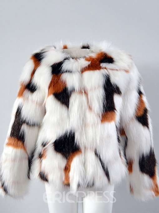 Ericdress Short Thick Color Block Fur Coat
