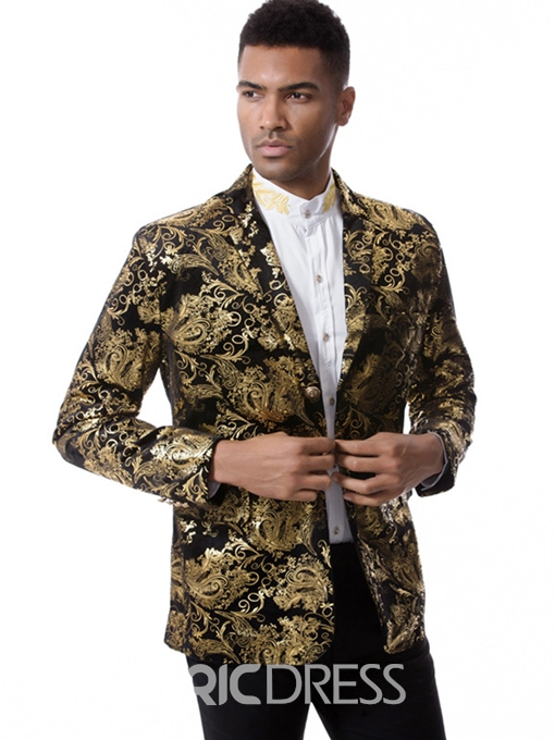 Ericdress Floral Print Notched Lapel Vogue Slim Men's Blazer