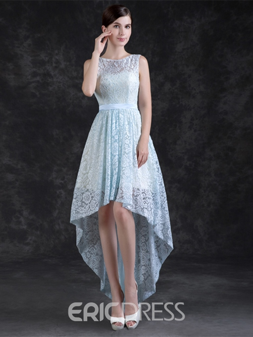 Ericdress A Line Scoop Neck Asymmetry High Low Lace Prom Dress