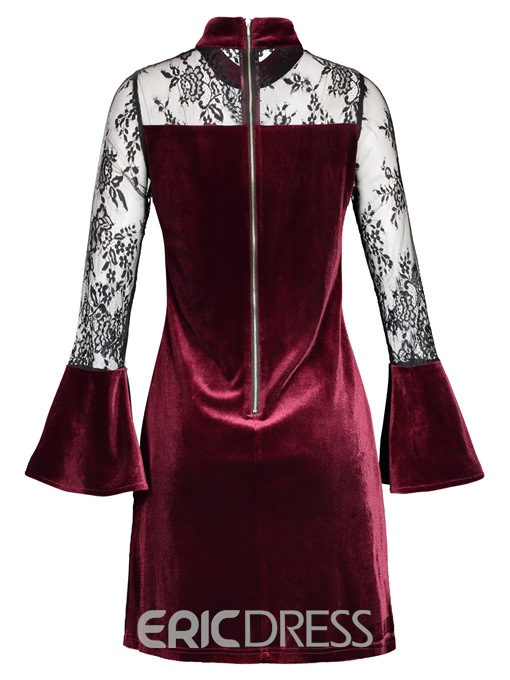 Ericdress Stand Collar Lace See-Through Velvet A Line Dress