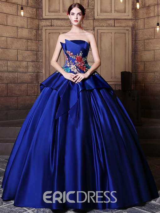 Ericdress Strapless Ball Gown Embroidery Pick-Ups Floor-Length Quinceanera Dress