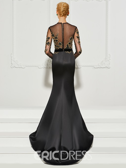 Ericdress Long Sleeve Scoop Neck Beaded Mermaid Evening Dress With Court Train