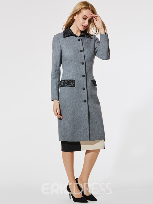 Ericdress Slim Lapel Pocket Lace Coat