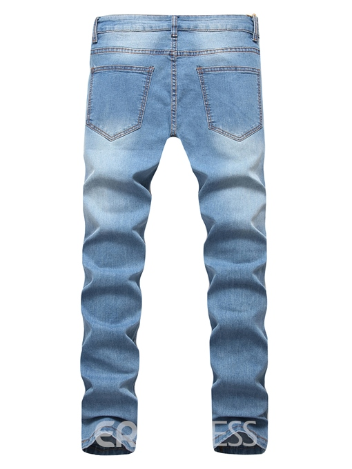 Ericdress Plain Hole Zip Cotton Denim Vogue Slim Men's Pants
