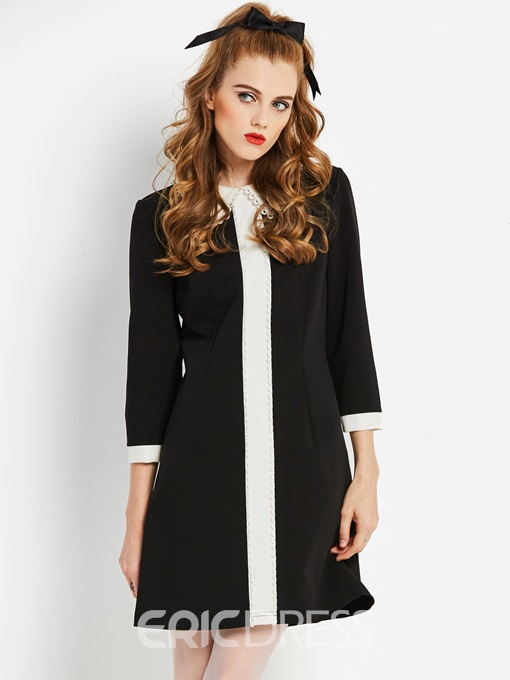 Ericdress Long Sleeve Knee-Length A-Line Zipper Dress