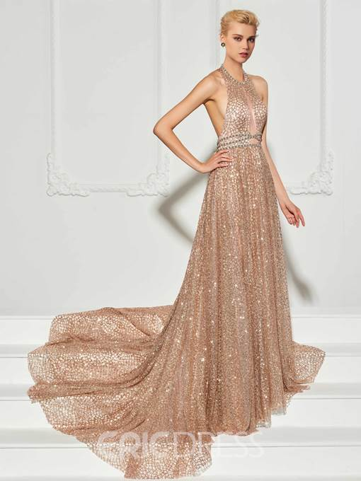 Ericdress A Line Halter Lace Backless Mermaid Evening Dress