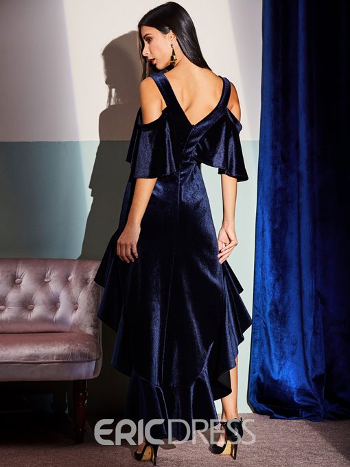 Ericdress Velvet Ruffles Backless Patchwork Asymmetrical Maxi Dress